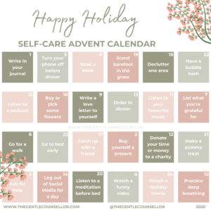 self-care advent calendar the gentle counsellor 2020